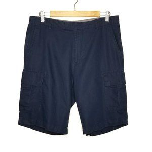 Claiborne Sz 32 Navy Blue Linen Blend Cargo Shorts